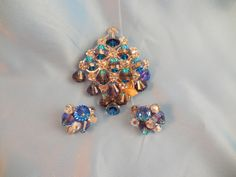 Vendome Pin and Earrings.  How pretty is this??  It has its original tags.  All of the beads have a rainbow effect in the right light and dangle from the frame.