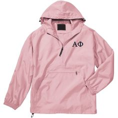 Alpha Phi Unlined Anorak (Pink) (£29) ❤ liked on Polyvore featuring black, outerwear and unisex adult clothing