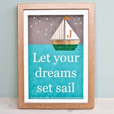 personalised nursery sailboat print by clothkat | notonthehighstreet.com