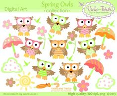 These spring owls clip art images are High-quality, 300 dpi, PNG, Spring flowers, umbrellas, sun, raindrops, clouds, closed umbrella