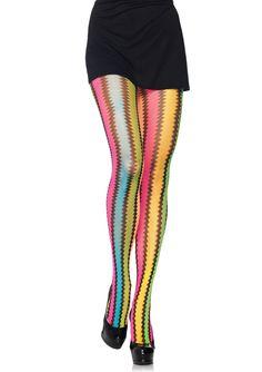 Rainbow zig zag net pantyhose. style 9941 www.legavenue.com
