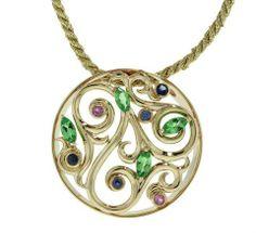 Yellow Gold Green Tsavorite Garnet, Pink and Blue Sapphires - Brisbane Jeweller - Brisbane Jewellery - Coloured Gems - MONTASH Jewellery Design - www.montash.com.au