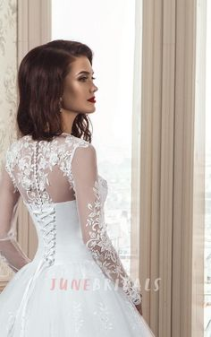 4a2a21812 A-Line Long Sleeve Tulle Lace Dress With Flower Illusion Lace-Up Back.  TirantesTrenEscoteBlancoVestidos ...