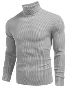 Shop Men Ribbed Knit Turtleneck Long Sleeve Slim Fit Pullover Sweater - Grey - and Discover a Huge Selection of Men's Sweaters at Affordable Price. Grey Turtleneck, Ribbed Sweater, Grey Sweater, Pullover Hoodie, Sweatshirt, Pullover Sweaters, Mens Fashion Sweaters, Stylish Boys, Knit Shirt