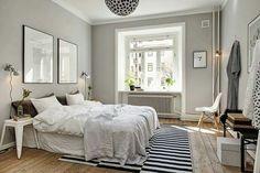 Gray bedroom wall paint in 100 examples - Bedroom Grey Bedroom Colors, Grey Bedroom Design, Gray Bedroom Walls, Grey Room, Grey Bedrooms, Trendy Bedroom, Airy Bedroom, Gray Walls, Small Bedrooms