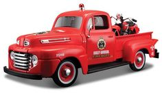 1948 Ford F-1 Fire Truck Hauling a 1936 El Knucklehead  Motorcycle with Harley-Davidson Graphics Maisto 32191 1/24