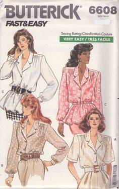 MOMSPatterns Vintage Sewing Patterns - Butterick 6608 Vintage 80's Sewing Pattern FANCIFUL Fast & Easy Career Cocktail Party Blouse, Elastic Waist, Peplum Size 8-12