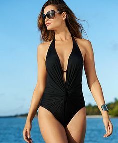 Kenneth Cole Twist-Front Plunge One-Piece Swimsuit