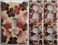 Cherry Blossom Japanese light switch plate cover set 1&4 bedroom bathroom wall decor room Kitchen housewares by ChrisCraftiedecor on Etsy