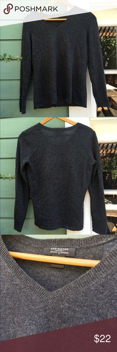 Ann Taylor Cashmere V-Neck Sweater Petite Incredibly soft, delicate, great shape, some mild pilling on sleeves. Charcoal grey. Ann Taylor Sweaters V-Necks