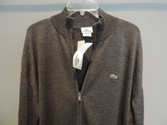 Lacoste Big Man Authentic Designer Solid Gray Full Zip Wool Sweater SZ 9 NWT  #Lacoste #FullZip