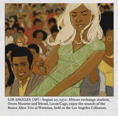 Ororo and Luke Cage at Wattstax - Great Candid Superhero Moments from Artist Phil Noto