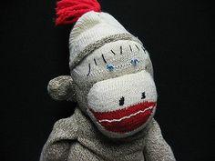 Mid Century Modern Vintage Toy Hand Made Sewn Sock Monkey   eBay