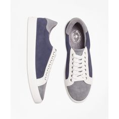 Brooks Brothers Color-Block Suede Sneakers ($98) ❤ liked on Polyvore featuring men's fashion, men's shoes, men's sneakers, mens suede shoes, brooks brothers mens shoes and mens suede sneakers