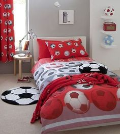 SINGLE REVERSIBLE FOOTBALL SOCCER RED COTTON DUVET SET COVER QUILT COVER SET