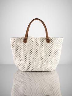 Cotton Crochet Tote by Ralph Lauren Crochet Hobo Bag, Crochet Bags, Cotton Crochet, Knit Crochet, Dior, Clutch Bag, Tote Bag, Ralph Lauren, Knitted Bags
