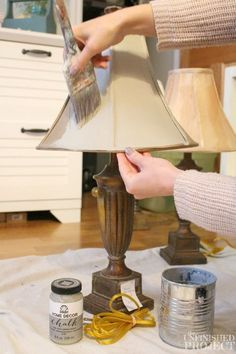 How to Paint a Lamp Shade with Chalk Paint Easiest thrift store lamp upgrade ever! Learn how to paint a lamp shade with chalk paint for a super easy and affordable way to update an old lamp.