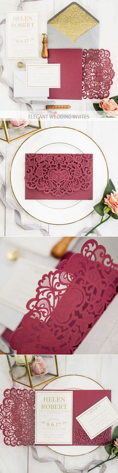 elegant vintage dark red and gold laser cut wedding invitations