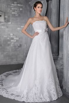 White Tulle Strapless Bridal Gown - Order Link: http://www.theweddingdresses.com/white-tulle-strapless-bridal-gown-twdn0035.html - Embellishments: Applique , Beading , Bowknot , Sash , Sequin; Length: Chapel Train; Fabric: Tulle; Waist: Natural - Price: 157.9USD