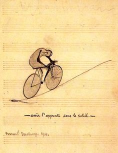 "Marcel Duchamp, ""To Have the Apprentice in the Sun,"" 1914, Chinese ink and pencil on music paper."