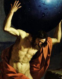 """Guercino (1591-1666) - """"Atlas"""" (1645-1646) - Après la révolte des Titans contre les dieux de l'Olympe, Atlas fut condamné par Zeus à soutenir la voûte céleste jusqu'à ce que quelqu'un veuille le remplacer. Il a donné son nom au massif de l'Atlas, où l'on place traditionnellement sa résidence, aux atlas de géographie, mais également à la première vertèbre de la colonne vertébrale (C1) celle qui supporte le crâne."""
