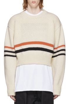 Raf Simons White Americano Sweater from SSENSE (men, style, fashion, clothing, shopping, recommendations, stylish, menswear, male, streetstyle, inspo, outfit, fall, winter, spring, summer, personal)