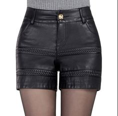 Women's PU Leather Detailed w/Pockets Shorts M-4XL