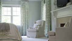 Bedroom   Morgan Harrison Home   ivory and pale blue, linen upholstered bedroom chairs, linen bedding, seafoam green, aloe and ivory patterned drapes