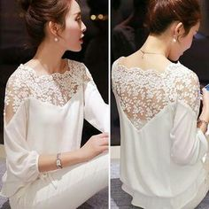 shirt embroidery Picture - More Detailed Picture about 2015 New Summer Plus Size Blouse Women Casual Chiffon Lace Blouse Loose Stitching Lace Long Sleeve Ladies Shirt Blusas Picture in Blouses & Shirts from ShejoinSheenjoy Bodycon Store Top Fashion, Fashion Women, Street Fashion, Chiffon Shirt, Lace Chiffon, Embroidered Lace, Mode Inspiration, Lace Tops, Blouses For Women