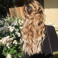 Wrap Around Braids, Curly Half Updo Virtual Hairstyles, Trending Hairstyles, Down Hairstyles, Pretty Hairstyles, Straight Hairstyles, Wrap Around Braid, Homecoming Hairstyles, Hair Dos, Hair Hacks