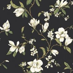 Magnolia Branch Wallpaper by York Wallpaper. We're having a big sale! Take an additional off all wallpaper and fabric! B&w Wallpaper, Cottage Wallpaper, Wallpaper Stores, Botanical Wallpaper, Wallpaper Online, Bathroom Wallpaper, Flower Wallpaper, Pattern Wallpaper, Blue Floral Wallpaper