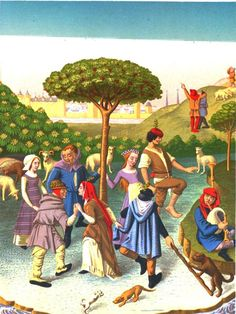 Se retrouver, danser et s'ambiancer, une représentation des Pays-Bas du 15e siècle - Maestro #musique #numelyo #danse #illustration