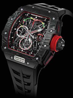 Richard Mille - RM 50-03.  Titanyum ve yelken malzemeleri üretimiyle uğraşan İsviçreli Createx of Cosso şirketi tarafından bulunan  TPT karbon (Thin Ply Technology) malzemeleri sayesinde oldukça hafif olan ve McLaren-Honda F1 araçlarındaki süspansiyon yapısından ilham alan kronograf saatte aynı zamanda grafen olarak adlandırılan bir malzeme de kullanılıyor. https://vimeo.com/200240222