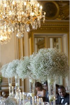 baby's breath / gypsophila in tall vases Budget idea. Maybe somehow add lights to them?