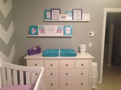 Baby girl's nursery. Purple, teal and grey. Chevron and owls!