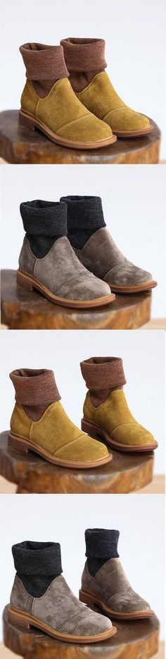 US$41.55 Color Blocking Ankle Genuine Leather Boots For Women