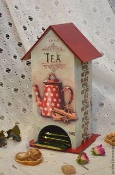 little tea house decoupage Cardboard Crafts, Wood Crafts, Diy And Crafts, Paper Crafts, Decoupage Vintage, Decoupage Foto, Wood Projects, Projects To Try, Decoupage Furniture