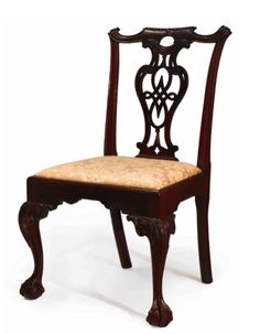 VERY FINE & RARE CHIPPENDALE CARVED & FIGURED MAHOGANY SIDE CHAIR, PHILADELPHIA, PENNSYLVANIA, CIRCA 1770 – Slipseat & chair mared III & V, respectively, Height 37 ¼ in. This elaborate splat design, inspired from Plate IX in William Ince & John Mayhew 1762 publication 'The Universal System of Household Furniture' & carving sets them apart from other Philadelphia Chippendale seating furniture. A chair from the same set is in the Yale University Art Museum.