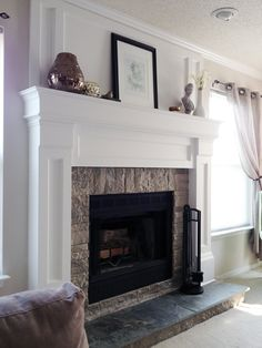 diy fireplace mantel redo