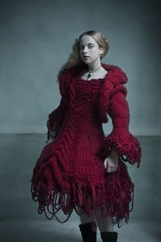 Red Riding Hood Knit Dress -- and I bet this dress is why she couldn't get rid of the wolf. He was laughing too hard and got his claws tangled in the stiches