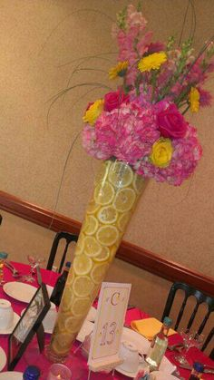 Hot pink and yellow fun summer table design