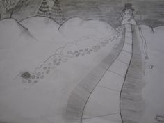 3rd grade: Value, movement, texture, landscape. Pencil.