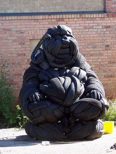 Buddha made out of used tires.