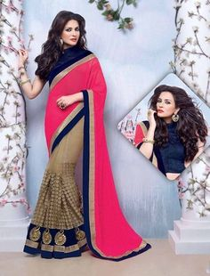 Picture of Charming Pink and Beige Color Net Saree Indian Designer Sarees, Indian Sarees Online, Designer Sarees Online, Lehenga Saree, Net Saree, Pink Beige, Beige Color, Latest Sarees, Pink Saree