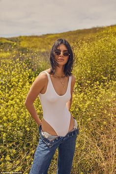 Wow factor: Kendall Jenner r put on quite the eye-popping display in mages of her modeling upcoming Kendall + Kylie clothing line released on Wednesday