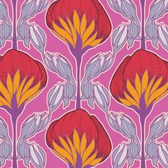 Flower Fans Pop Pink fabric by Modernprintcraft on Spoonflower