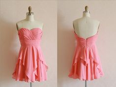 Coral chiffon bridesmaid dress with unique skirt   Strapless sweetheart neckline with ruched chest   Uneven ruffle skirt, very summer and outdoor   Fully lined with boning and bra cups for support    This dress can be made in many other colors, please message me for color chart  Tea o...