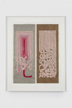 "Julian Hoeber, ""Angular to Curved Experiments 1&2""Gouache and graphite on mulberry paper, 18 x 7 inches each piece, 2015"