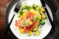 Lightened-up Chicken Parmigiana with Garlicky Veggies from www.canadianliving.com