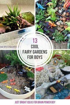 Fairy gardens for boys? YES! We found boy-friendly choices including dinosaur gardens, Star Wars, pirates, trains, zoo animals and more. #fairygarden #starwars #dinosaur #boymom